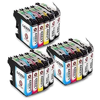 Uoopo Ersatz Brother LC223 Druckerpatronen für Brother MFC-J480DW DCP-J562DW MFC-J4420DW DCP-J4120DW MFC-J5320DW J880DW J680DW J4620DW J4625DW, 6 Schwarz/ 3 Cyan/ 3 Magenta/ 3 Gelb