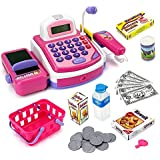 My Cash Register Pretend To Play Electronic Cash Register Toy with Actions and Sounds (Pink, VT2815C)