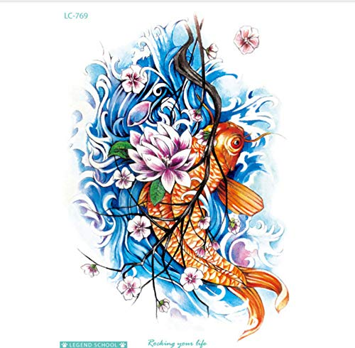 ruofengcp Allgemeiner Kunst-Hd-Tätowierungs-Aufkleber wasserdichter bunter Rotwild-Goldfisch-Drache-vorübergehender Tätowierungs-Aufkleber (Mädchen Mit Drachen-tattoo-halloween-kostüm)