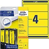 AVERY Zweckform L4769-20 Ordnerrücken Etiketten (mit ultragrip, 61 x 192 mm auf DIN A4, breit/kurz, selbstklebend, blickdicht, bedruckbare Ordneretiketten, 80 Rückenschilder auf 20 Blatt) gelb