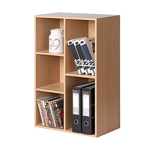 JHUEN Bücherregal Holz Quadrat 5 Fächer Schränke Schlafzimmer Bücherregal Ahorn Größe 80 * 23,8 * 50 cm -