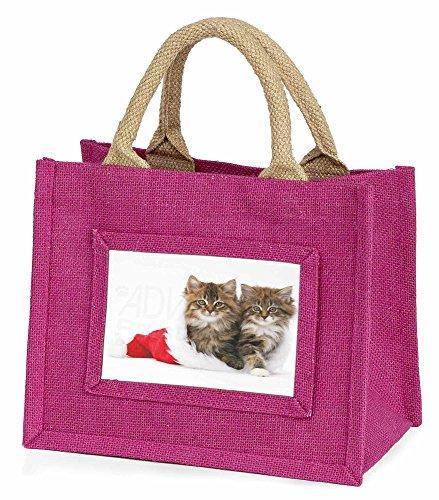 Advanta–Mini Pink Jute Tasche Kätzchen hat kleine Mädchen Kleine Shopping Tasche Weihnachten Geschenk, Jute, pink, 25,5x 21x 2cm