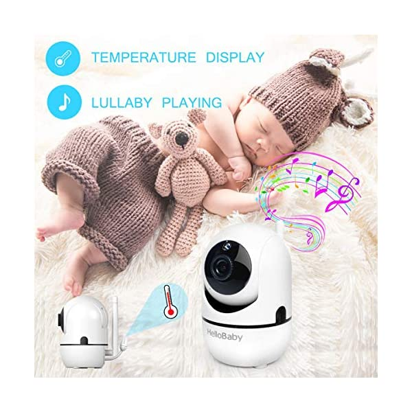 "HelloBaby HB65 Video Baby Monitor with Remote Camera Pan-Tilt-Zoom, 3.2'' Color LCD Screen, Infrared Night Vision, Temperature Monitoring, Lullaby, Two Way Audio, Includes Wall-mounting Parts (HB65) HELLO BABY 3.2"" LCD DISPLAY & 2.4GHz WIRELESS TECHNOLOGY: This video baby monitor is equiped with a 3.2 inch TFT LCD display. Application of frequency hopping and digital encryption technology ensures secure and reliable connection. REMOTE PAN TILT and ZOOM: Remote control camera rotate 355° in horizontal and 120° vertical ensuring you always have a clear view of your baby from any angle. TWO WAY TALK: The crystal clear two-way audio feature allows conversation both ends as clear as if you were in the same room with your little one. 3"
