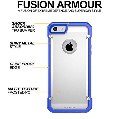 Coque Apple iPhone SE, TECHGEAR® iPhone SE 5s 5 [FUSION ARMOUR] Coque Protective Svelte Anti-Choc (Blanc/Givré) BLEU/GIVRÉ (FUSION ARMOUR)