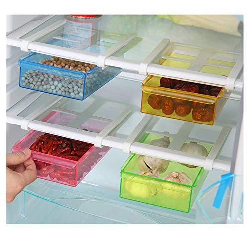 Wjkuku, contenitore alimentare sotto mensola per frigorifero e freezer, agganciabile al ripiano, scorrevole, multifunzione, in plastica, articolo salvaspazio per cucina