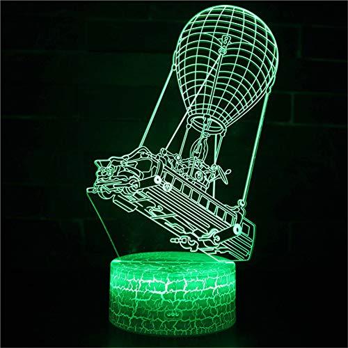 3D Optisches Nachtlicht Nachttischlampe Für Kinder LED Tischleuchte Dekoratives Licht 7 Farben Andern Touch Switch Acryl USB Batterie Crack Basis Hot Air Balloon Bus