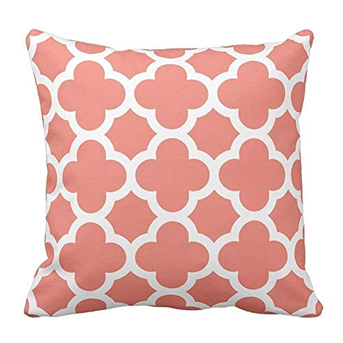 Rghkjlp Coral and Quatrefoil Pattern Pillowcases Patterneds for Home Decoration,Sofa,and Chairs,Car Decoration,Hotel,Cafe Decor,
