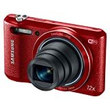 Samsung WB35F 16.2MP Smart WiFi and NFC Digital Camera with 12x Optical Zoom and 2.7-inch LCD (Red), 4GB Card, Camera Case with Free Samsung Backpack