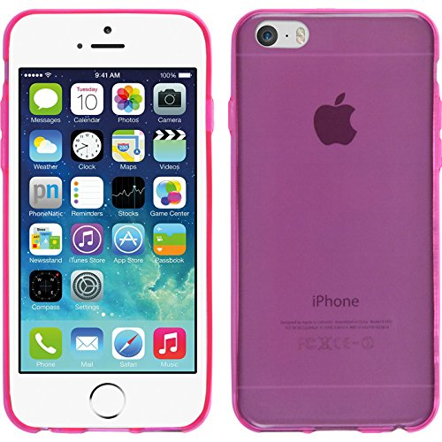 PhoneNatic Case für Apple iPhone 6s / 6 Hülle Silikon grau Slimcase Cover iPhone 6s / 6 Tasche + 2 Schutzfolien Pink