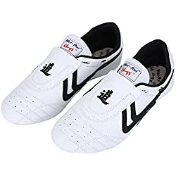 Alomejor Zapatos de Taekwondo Artes Marciales Zapatilla de Boxeo Karate Kung Fu Tai Chi Zapatos Zapatillas de Rayas Negras Zapatillas Ligeras(42)