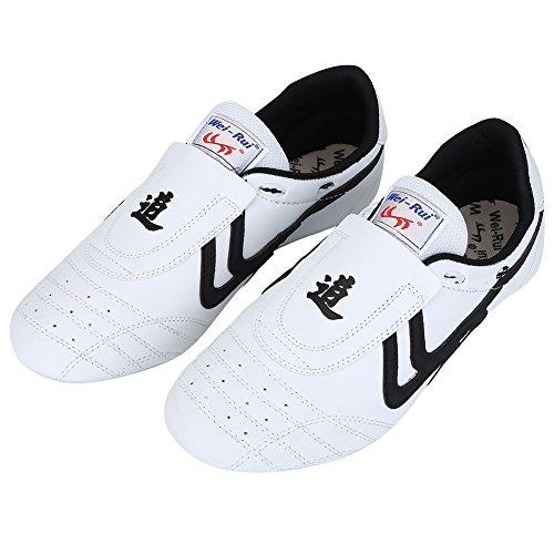 Alomejor Taekwondo Schuhe Kampfkunst Sneaker Boxen Karate Kung Fu Tai Chi Schuhe Schwarze Streifen Turnschuhe leichte Schuhe(42)