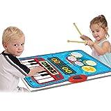 SainSmart Jr. 2-in-1 Foldable Music Mat, Functional Jam Drum&Piano Playmat, Recordable Musical Instruments