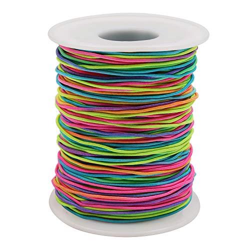 Elastische Schnur Perlenschnur (100 m) - Regenbogen Farbe Stretch Faden Stoff Handwerk Schnur mit 1mm Durchmesser fur DIY Halskette, Armband, Handwerk, Haargummis, Kostum Basteln, Schlusselanhanger -
