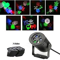 Idea Regalo - ALED LIGHT® Rotazione di proiettore RGB Luci LED multicolore, con 7pcs obiettivo cartamodello conmutable per compleanno, Vacanze, matrimonio, feste, Stanza dei bambini, decorazione del hogar