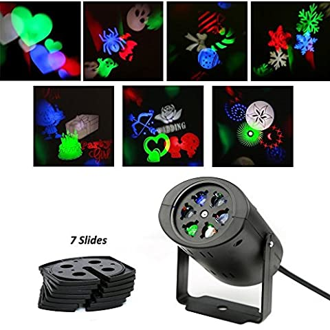 HOWSAN Rotating Rgb Projection Led Lights, Multicolor with 7PCS Switchable Pattern Lens for Valentine's Day, Birthday, Holiday, Wedding, Party, Kids Room, Home