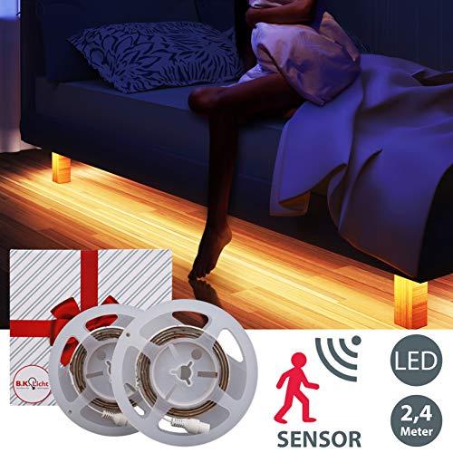 B.K.Licht I 2x LED Bettlicht mit Bewegungsmelder 1,2m I LED Band dimmbar I Nachtlicht I Lichtleiste I warmweiß