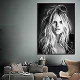 yhyxll Brigitte Bardot Affiche Française De Mode Toile Scandinave Noir Et Blanc Modèle Photo Vintage Photo Mur Art Décor À La Maison B 60X80 cm
