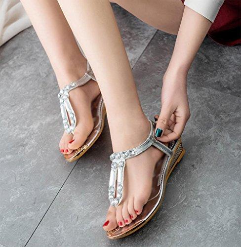 Semelle en caoutchouc sandales lanière été diamant chiquenaude sandales plates étudiante Silver