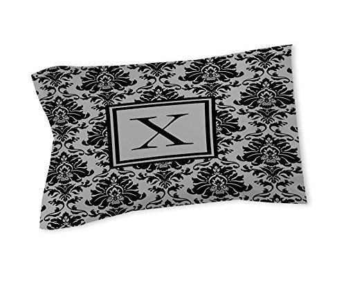 Manuelle holzverarbeiter & Weavers Kissen Sham, King, Monogramm Buchstabe X, schwarz und grau damast -
