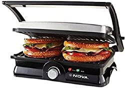 Nova Household Appliances Ngs-2451 3-In-1 Turbo Grill Sandwich Press ,Black,Silver