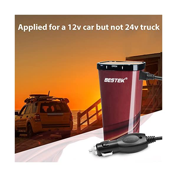 BESTEK 200W Power Inverter DC 12V to AC 230V 240V 3-in-1 Car Charger Cigarette Lighter Socket + AC Plug + Dual USB Charging Ports Voltage Converter 9