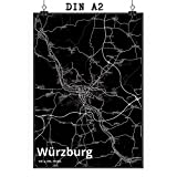 Mr. & Mrs. Panda Poster DIN A2 Stadt Würzburg Stadt Black