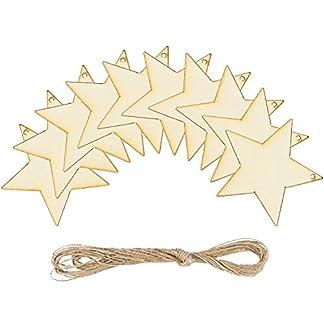 Keriber 20 piezas estrella de madera para colgar decoraciones de árbol de Navidad con cordel para Festival Decoración, DIY Proyecto o boda …
