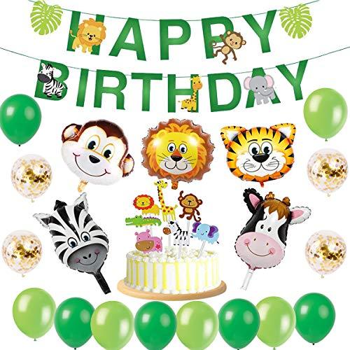 tstag Deko Happy Birthday Girlande und lustig Tier Folienballons Konfetti Luftballons Party fü Mädchen Jungen Kinder Geburtstag Kindergarten Dekoration ()
