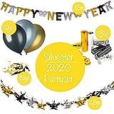 L+H Silvester Deko Set 2020 | Party Set mit über 50 Teile | 2,5m Happy New Year Girlande, 9X Luftballons Gold/Silber/metallic, 1x Streudeko Konfetti Gold/schwarz, 1x Drahtgirlande, 3X Luftschlange