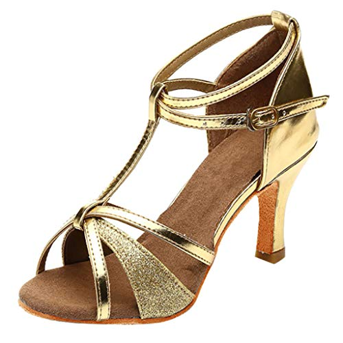 SANFASHION Mädchen Latin Dance Sandalen Med-Heels Satin Schuhe Party Tango Salsa Tanzschuhe - Dunkelbraune Leder Kinder Schuhe