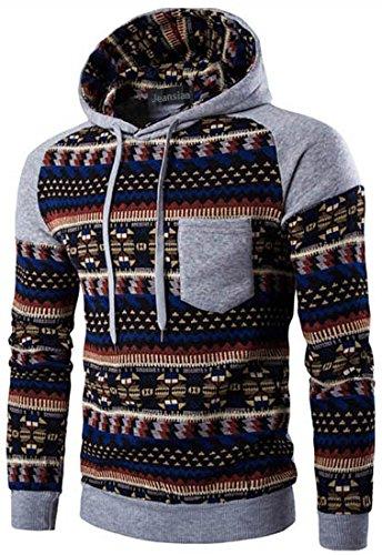 jeansian Herren Casual Ethnic Style Hooded Pullover Hoody Hoodies Sweatshirt Sports Top 88G0 LightGray M [Apparel]
