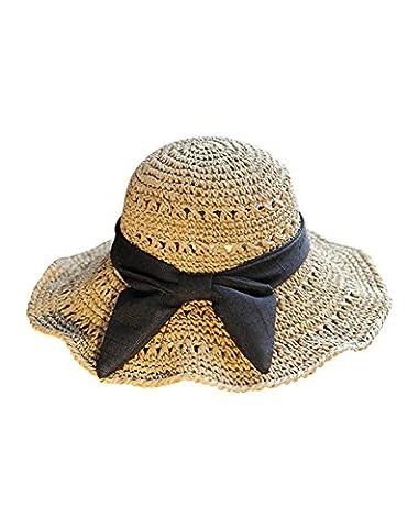 Chapeau de soleil Chapeau de genou en crochet Mme Big Along The Hollow Shade Douche pliante Canopy Bow Beach Sun Hat Plage Cap ( Couleur : 1 )