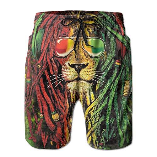 goodsale2019 Sonnenbrille Rasta Lion Strandhose für Herren Badehose Schnelltrocknende Boardshorts mit Netzfutter