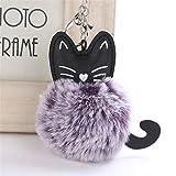artistic9(TM)–Llavero, diseño de gato anillo de las mujeres Clave colgante Llaveros de pompón, Morado, 8 cm