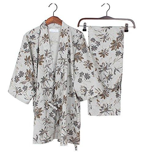 Baumwolle Lange Ärmel Robe (Elegante Frauen japanische Stil lange Ärmel Robes Baumwolle Kimono Pyjamas Anzug Dressing Gown Set # B)