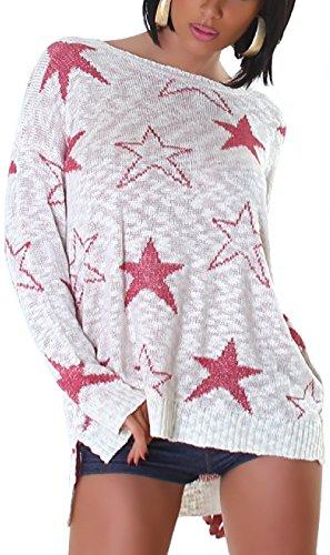 Jela London Damen Pailletten-Pullover Sterne Glitzer Glanz weich kuschelig Oversize Schlabber-Pulli Fledermaus-Ärmeln vorne kurz hinten lang, Creme Weiß Pink 36 38