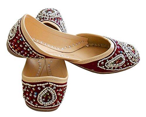 kalra Creations Chaussures de ethnique indien traditionnel fait main en velours cuir pour femme Bordeaux