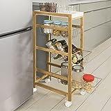 SoBuy® carrello portafrutta,carrellino per il bagno o cucina, portaoggetti su rotelle, P16cm, 3 cestini e 1 vassoio, FKW54-WN,IT