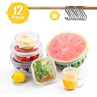 Tapas Elásticas de Silicona, Besfair 12 Pack Tapas Herméticas de varios Tamaños, Cubiertas extensibles para mantener comidas frescas, Tapas proteger alimentos para la nevera, microonda y etc.