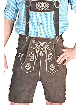 Trachten Herren Lederhose Kurz Braun leather trousers Smartphone Tasche KUHA1