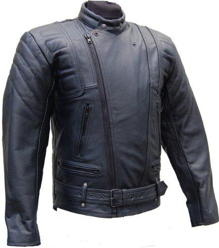 Lederjacke mit Protektoren - Leder Jacke für Biker Chopper Mottoradjacke Motorrad Rocker