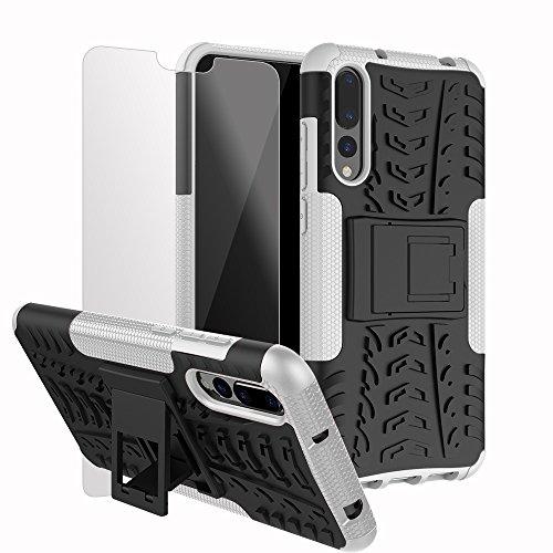 Preisvergleich Produktbild Roreikes Huawei P20 Pro Hülle Stoßfest,  Roreikes Hyun Muster Weich TPU+PC Dual Layer Hybrid Rugged Armor 2 in 1 Schutzhülle Eingebauter Ständer Handyhülle Silikon Case für Huawei P20 Pro-Weiß