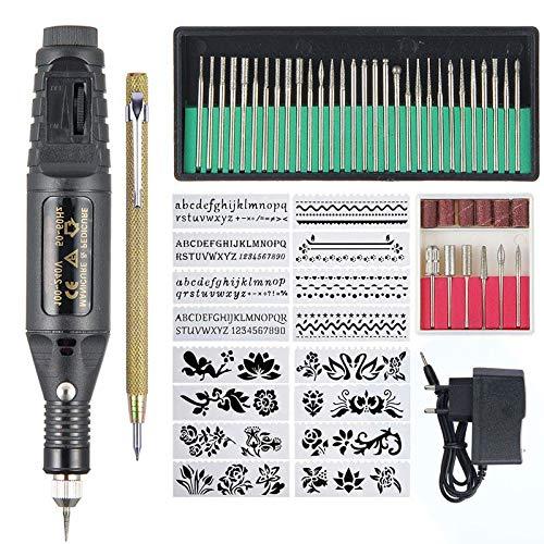 Roebii Elektrische Gravur Gravierstift Carve Werkzeug,Gravierwerkzeug Elektro Gravur Pen Pen Polish Carving Combo Set Einstellbare Rotating Speed Carve Werkzeug mit Pen Combo
