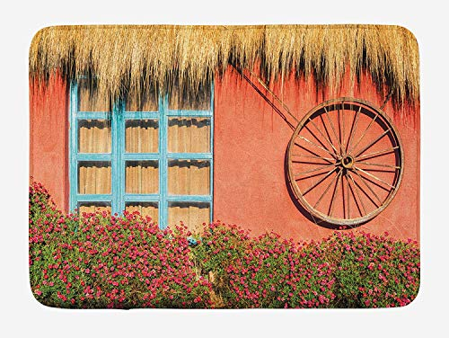 Barn Wood Wagon Wheel Bath Mat, Country House in Ecuador Red Wall Window Summer Flowers Straw Roof, Plush Bathroom Decor Mat with Non Slip Backing, 23.6(L) X15.7(W) inch, Multicolor