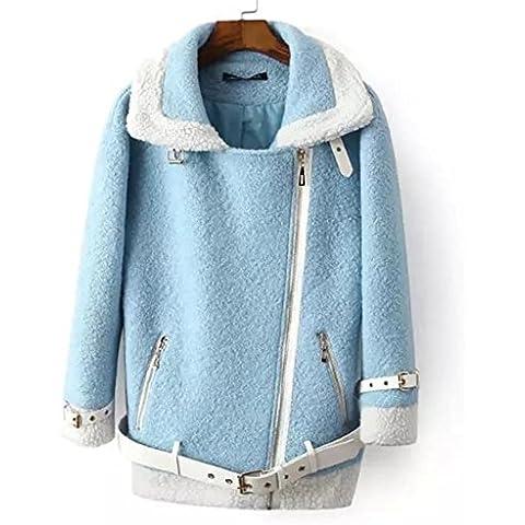 YUYU Señora sueltas Furry chaqueta engrosada térmico suave manga larga , s , blue