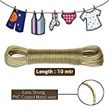 #5: TiedRibbons® Clothesline Heavy Duty Wet Cloth Laundry Rope PVC Coated Metal Cloth Drying Wire - 10 Metres