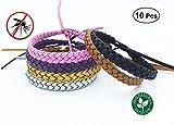 Sinwind Bracelet anti-moustique, 10 Pcs 5 Couleur 100% Naturel sans Deet, Pour Adultes et Enfants Protection Extérieure Intérieure