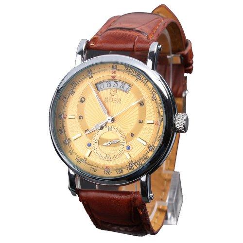 Unique bella rhöna automática reloj mecánico esqueleto FECHA reloj de  pulsera con cuero de deporte reloj 8a915da41c79