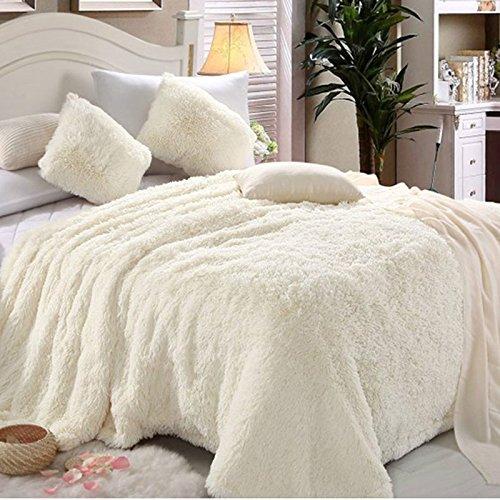 BDUK Dicke warme kuschelige Handtücher Decken Daunendecke Emulation Nerz flauschige Decken und Nahum Komfortable, 150*200, weiße Terrier - Queen-size-weiße Daunendecke