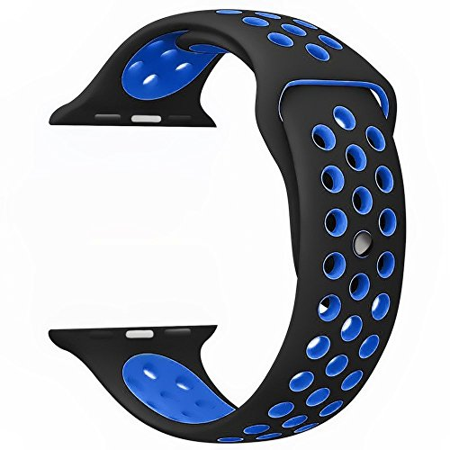 Noya Apple Watch Correa Nike + Serie 1 Serie 2 Series 3, Suave Reemplazo de Silicona Sport Banda Correa de Muñeca para iWatch Band Correa de Nike Sport M/L (42mm, Negro/Azul)